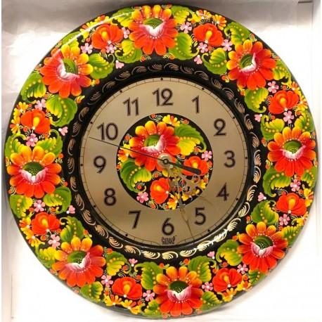 Reloj de madera/ Flores rojos